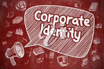 Shouting Megaphone with Wording Corporate Identity on Speech Bubble. Hand Drawn Illustration. Business Concept.