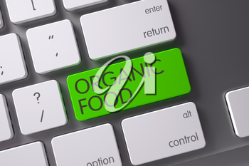 Organic Food Concept Metallic Keyboard with Organic Food on Green Enter Key Background, Selected Focus. 3D.
