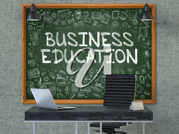 Business Education Concept Handwritten on Green Chalkboard with Doodle Icons. Office Interior with Modern Workplace. Gray Concrete Wall Background. 3D.