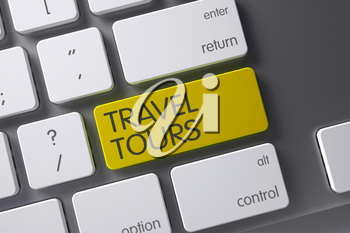 Concept of Travel Tours, with Travel Tours on Yellow Enter Button on Laptop Keyboard. 3D Illustration.