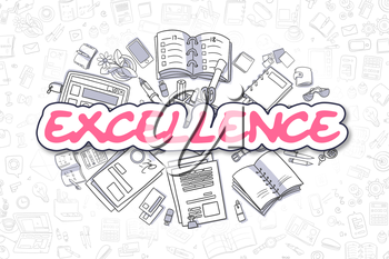 Business Illustration of Excellence. Doodle Magenta Word Hand Drawn Doodle Design Elements. Excellence Concept.