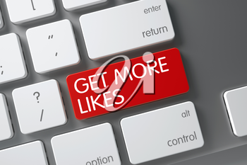Concept of Get More Likes, with Get More Likes on Red Enter Keypad on Slim Aluminum Keyboard. 3D Render.