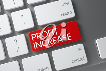 Concept of Profit Increase, with Profit Increase on Red Enter Keypad on White Keyboard. 3D Illustration.