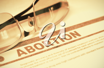 Abortion - Medical Concept on Red Background with Blurred Text and Composition of Glasses. 3D Rendering.