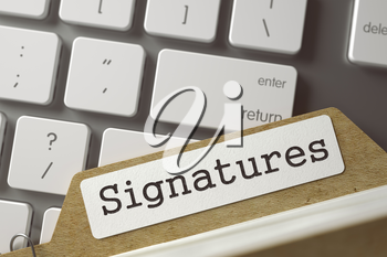 Signatures written on  Sort Index Card Concept on Background of White Modern Computer Keypad. Business Concept. Closeup View. Selective Focus. Toned Illustration. 3D Rendering.