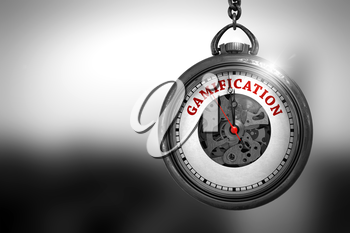 Business Concept: Pocket Watch with Gamification - Red Text on it Face. Gamification on Vintage Pocket Watch Face with Close View of Watch Mechanism. Business Concept. 3D Rendering.