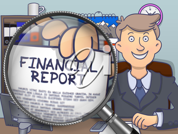 Financial Report on Paper in Officeman's Hand through Lens to Illustrate a Business Concept. Multicolor Modern Line Illustration in Doodle Style.