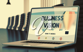 Business Vision on Landing Page of Laptop Screen in Modern Conference Room Closeup View. Blurred Image. Selective focus. 3D Rendering.