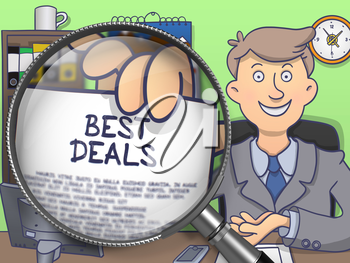 Best Deals. Businessman Showing a Paper with Concept through Magnifying Glass. Colored Doodle Illustration.