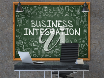 Business Integration - Hand Drawn on Green Chalkboard in Modern Office Workplace. Illustration with Doodle Design Elements. 3D.
