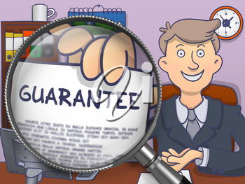 Guarantee. Business Man Sitting in Offiice and Shows through Magnifier Text on Paper. Colored Doodle Style Illustration.