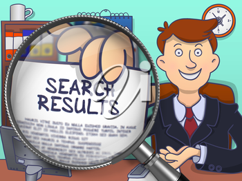 Business Man in Office Holding a Concept on Paper Search Results. Closeup View through Magnifier. Multicolor Doodle Style Illustration.
