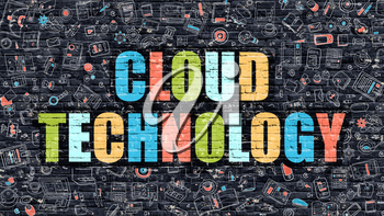 Cloud Technology Concept. Modern Illustration. Multicolor Cloud Technology Drawn on Dark Brick Wall. Doodle Icons. Doodle Style of  Cloud Technology Concept. Cloud Technology on Wall.