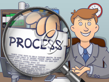 Process through Lens. Business Man Shows Paper with Concept. Closeup View. Multicolor Modern Line Illustration in Doodle Style.