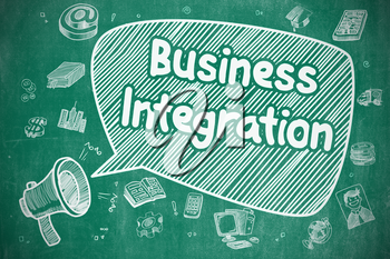 Speech Bubble with Phrase Business Integration Hand Drawn. Illustration on Blue Chalkboard. Advertising Concept.