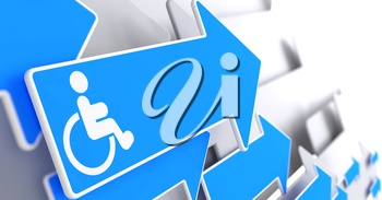 Disabled Icon on Blue Arrow on a Grey Background.