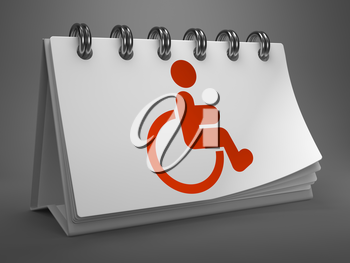 Red Disabled Icon on White Desktop Calendar Isolated on Gray Background.