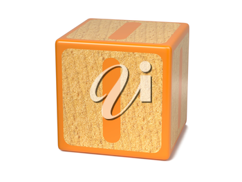 Letter I on Orange Wooden Childrens Alphabet Block  Isolated on White. Educational Concept.