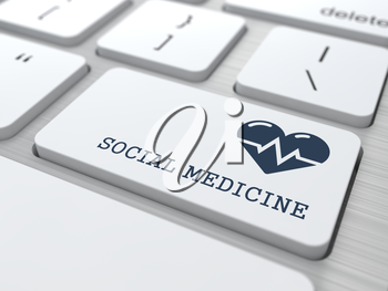 Social Medicine Words with Icon of Heart with Cardiogram Line on Button of White Modern Computer Keyboard.