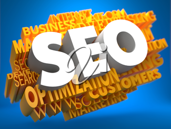 SEO on White Color on Cloud of Yellow Words on Blue Background. Internet Concept.