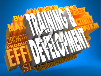 Training and Development on White Color on Cloud of Yellow Words on Blue Background. Business Educational Concept.