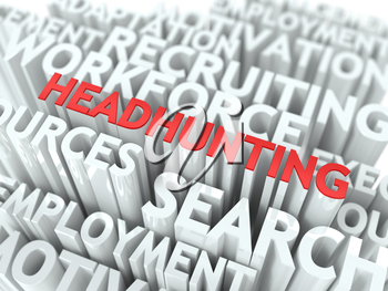 Headhunting - Word in Red Color Surrounded by a Cloud of Words Gray. Wordcloud Concept.