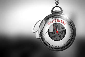 Happiness on Vintage Pocket Watch Face with Close View of Watch Mechanism. Business Concept. Watch with Happiness Text on the Face. 3D Rendering.