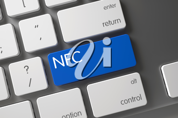 NFC Concept Metallic Keyboard with NFC on Blue Enter Key Background, Selected Focus. 3D Illustration.