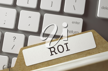 ROI written on  Folder Index on Background of White PC Keyboard. Archive Concept. Closeup View. Blurred Toned Image. 3D Rendering.