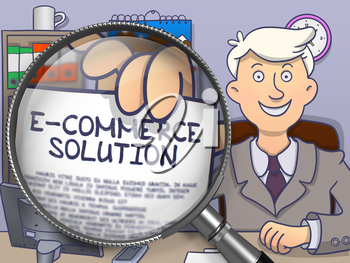 E-Commerce Solution. Businessman Holds Out a Paper with Inscription through Lens. Colored Doodle Style Illustration.