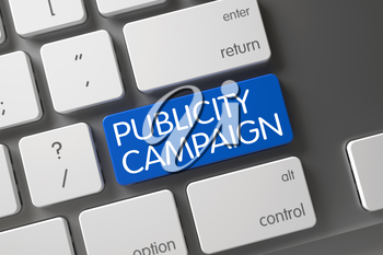 Publicity Campaign Concept: Modernized Keyboard with Publicity Campaign, Selected Focus on Blue Enter Button. 3D Render.