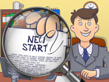New Start. Man in Office Workplace Shows through Magnifier Concept on Paper. Colored Doodle Style Illustration.