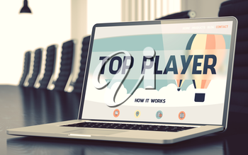 Closeup Top Player Concept on Landing Page of Laptop Display in Modern Meeting Hall. Blurred Image. Selective focus. 3D Rendering.