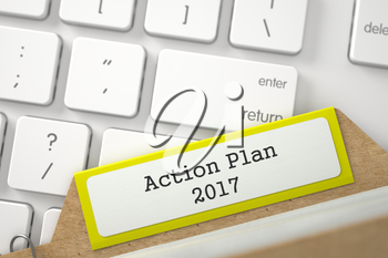 Action Plan 2017. Yellow Card File Overlies White PC Keyboard. Archive Concept. Close Up View. Selective Focus. 3D Rendering.