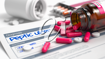 Peptic Ulcer Text in Anamnesis. Close View of Medicine Concept. Peptic Ulcer - Handwritten Diagnosis in the Differential Diagnoses. Medical Concept with Red Pills, Close Up View, Selective Focus. 3D.