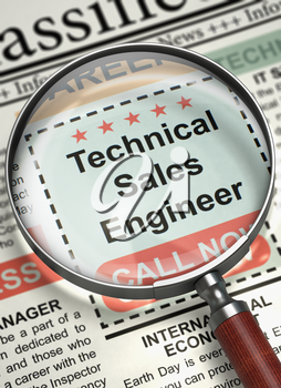 Illustration of Searching Job of Technical Sales Engineer in Newspaper with Loupe. Technical Sales Engineer - Vacancy in Newspaper. Hiring Concept. Blurred Image. 3D Illustration.