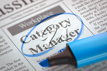 Category Manager - Jobs in Newspaper, Circled with a Blue Highlighter. Blurred Image. Selective focus. Concept of Recruitment. 3D Illustration.