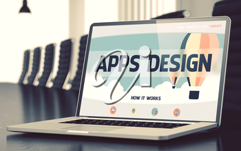 Laptop Display with Apps Design Concept on Landing Page. Closeup View. Modern Conference Room Background. Blurred Image with Selective focus. 3D Illustration.