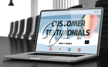 Customer Testimonials. Closeup Landing Page on Laptop Screen. Modern Conference Hall Background. Toned Image with Selective Focus. 3D Rendering.