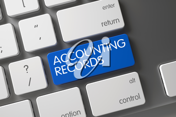 Concept of Accounting Records, with Accounting Records on Blue Enter Keypad on Modern Keyboard. 3D Render.