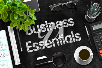 Black Chalkboard with Business Essentials. 3d Rendering.