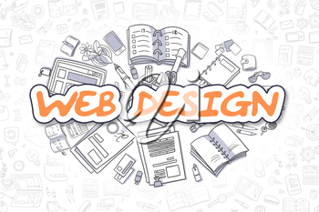 Web Design - Hand Drawn Business Illustration with Business Doodles. Orange Text - Web Design - Doodle Business Concept.