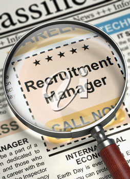 Newspaper with Jobs Section Vacancy Recruitment Manager. Magnifier Over Newspaper with Small Advertising of Recruitment Manager. Concept of Recruitment. Blurred Image. 3D Render.