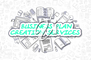 Business Illustration of Business Plan Creation Services. Doodle Green Text Hand Drawn Doodle Design Elements. Business Plan Creation Services Concept.