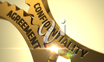 Confidentiality Agreement on the Mechanism of Golden Metallic Gears with Lens Flare. 3D Render.