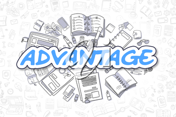 Advantage Doodle Illustration of Blue Text and Stationery Surrounded by Doodle Icons. Business Concept for Web Banners and Printed Materials.