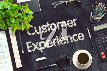 Customer Experience Concept on Black Chalkboard. 3d Rendering. Toned Image.