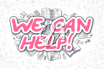 Business Illustration of We Can Help. Doodle Magenta Inscription Hand Drawn Cartoon Design Elements. We Can Help Concept.