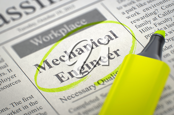 Mechanical Engineer - Jobs Section Vacancy in Newspaper, Circled with a Yellow Highlighter. Blurred Image with Selective focus. Hiring Concept. 3D Illustration.
