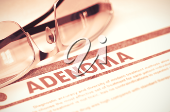 Adenoma - Printed Diagnosis with Blurred Text on Red Background with Glasses. Medical Concept. Adenoma - Medicine Concept with Blurred Text and Specs on Red Background. Selective Focus. 3D Rendering.